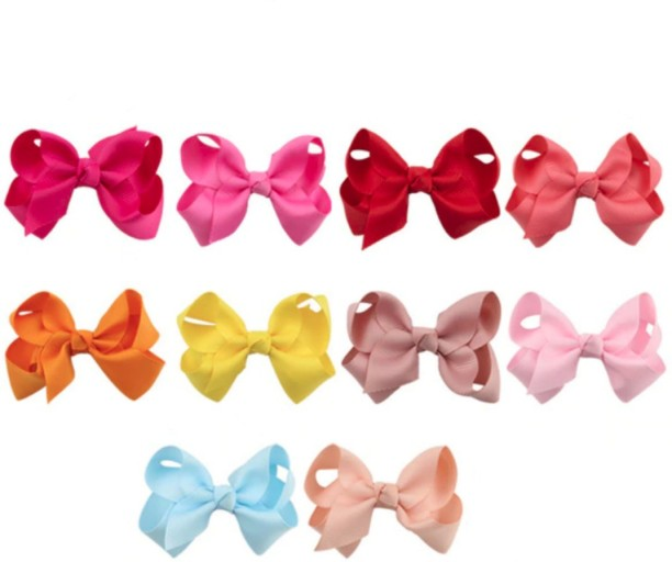 Lux Accessories Christmas Holiday Xmas Glitter Bow Clips Pack 3PC