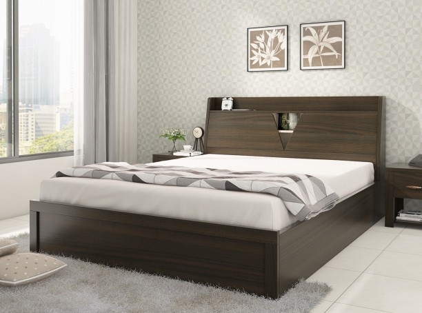 Wooden furniture bed design Solid Wood Spacewood Engineered Wood King Box Bed Flipkart Beds Buy Beds बड Online At Best Prices In India