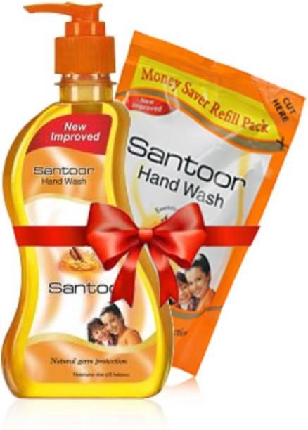 santoor Classic Sandalwood and Tulsi Soft On Hand Wash ( 215 + 180 ) Hand Wash Pump Dispenser