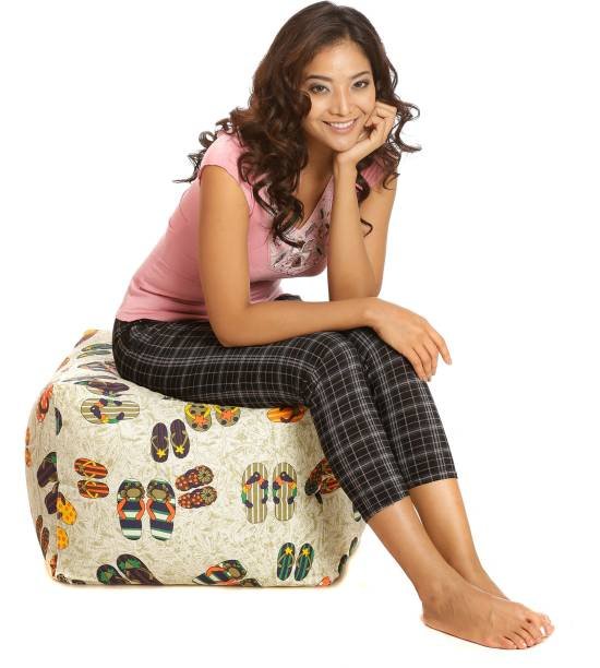 STYLE HOMEZ Large Square Cotton Canvas Abstract Printed Ottoman Multi Bean Bag Footstool  With Bean Filling