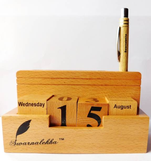 Swarnalekha 6 Compartments Wooden Desk Calendar with Pen and Visiting Card Holder