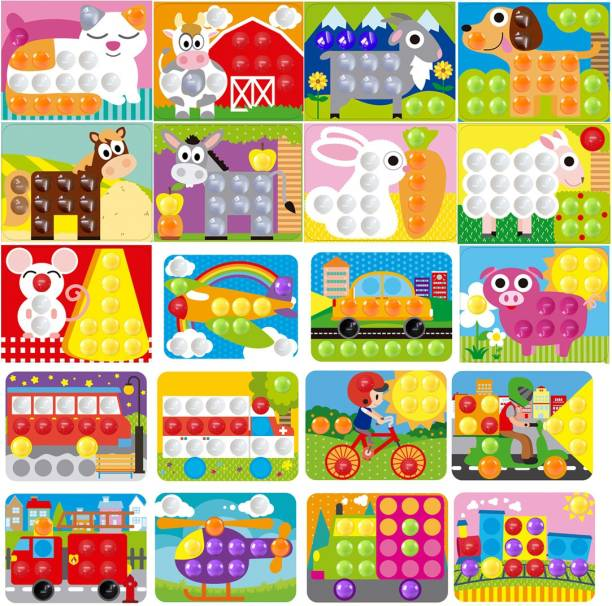 GoAppuGo Play School Learning Toys Box Animals And Vehilces 20 Picture Cards 130 Plastic