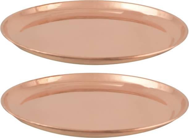 Magic's Max High Guage Copper Plain Thali (Pack of2) Charger Plate
