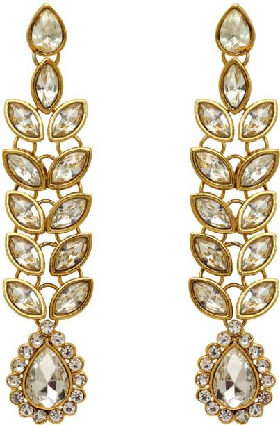 Jaipur Mart White Color Traditional Kundan Earrings For Women Alloy Dangle Earring