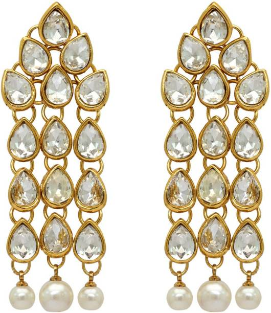Jaipur Mart White Color Beautiful Kundan Earrings For Women Alloy Drop Earring