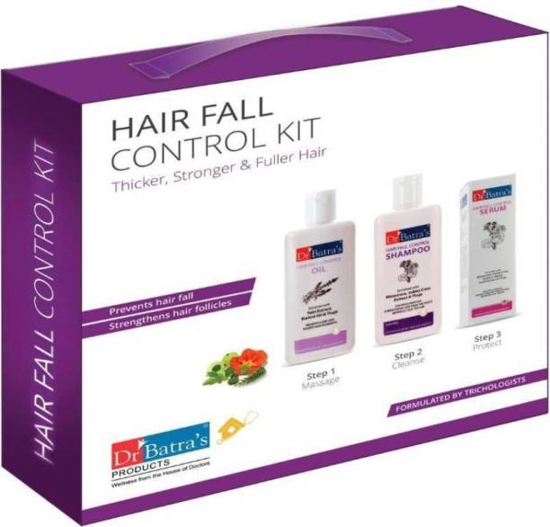 Dr. Batra's Hair Fall Control Kit Thicker, Stronger & Fuller Hair In 3 Easy Steps (Pack Of 3 Units)