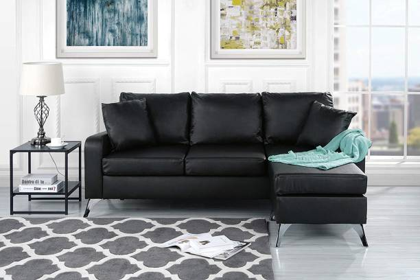 Style Crome Sectional Sofa with Reversible Chaise (Black) Leather 3 + 1 Black Sofa Set