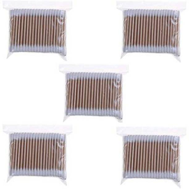 Hua You Wooden Stick Double Head Tips Natural Pure Cotton Swabs Ear Cleaning Picks Buds - 500 Pcs
