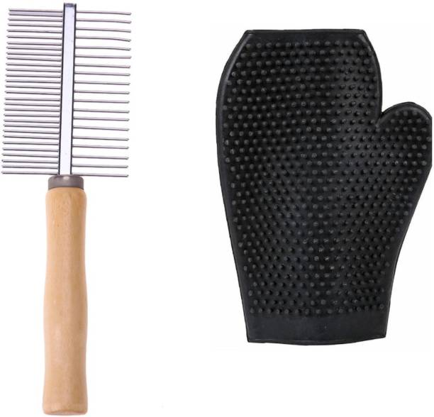 Pet Needs High Quality Wooden Handle Steel Needles Rake Comb Hairbrush With Free Bathing Gloves For Dogs Cat Rakes for  Dog