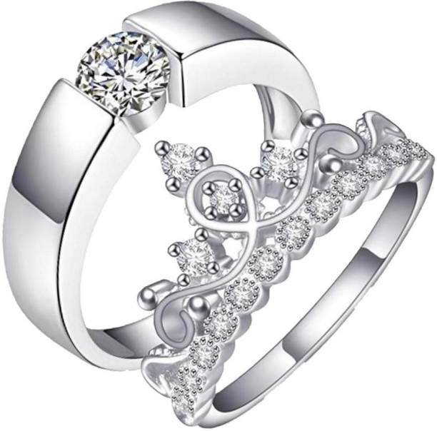 707867267 MYKI Queen   King Sterling Silver Plated Zirconia Adjustable (Resizable)  Couple Rings Sterling Silver