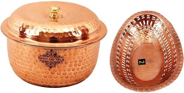 IndianArtVilla Steel Copper Casserole with 1 Copper Bread Basket Serve Casserole
