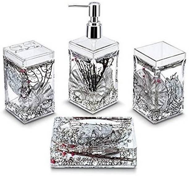 EVA Acrylic 4 Pieces Dispenser, Toothbrush Holder, Tumbler & Soap Dish, Square Glass
