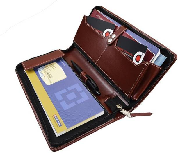 COI leatherite Brown expendable cheque book holder/document holder