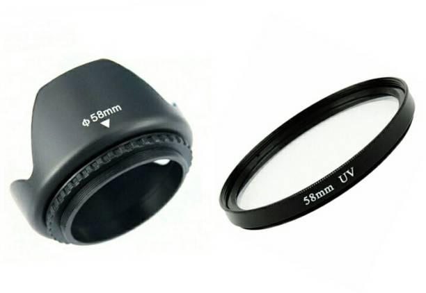 BOOSTY Branded Tulip 58Mm Flower Lens Hood (Black) for Canon Eos 55-250Mm 18-55Mm Ef Lens with 58mm Saftey uv Lens Filter  Lens Hood