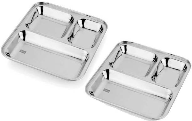 Kanak Stainless Steel 3 in 1 Pav Bhaji Plate - Idli Shambar Serving Plate, Three Compartment Dinner Plate Set of 2 Pieces Sectioned Plate