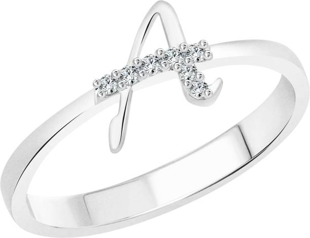 Vighnaharta Initial A Alphabet Alloy Cubic Zirconia 18k White Gold Plated Ring