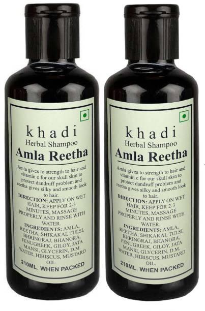 Khadi Herbal Amla Reetha shampoo- 420ml (pack of 2)