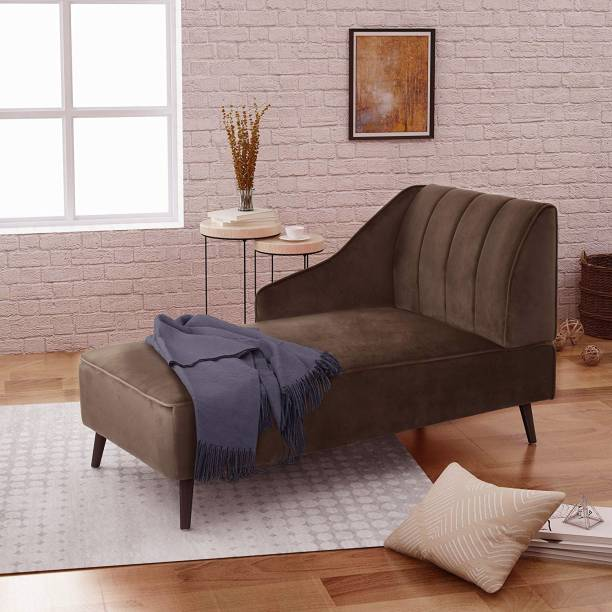 Style Crome Style Crome Linen Fabric Living Room Chaise Lounge with Nailhead Trim (Brown) Fabric 1 Seater  Sofa