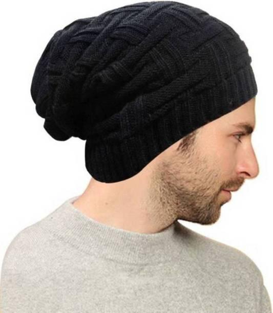 70303accb5f RedDiamond Solid Black Slouchy woolen Long Beanie Cap for Winter skull head  Unisex Cap