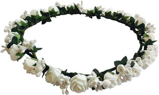 Generic New Arihant Traders- White Flower Tiara Crown for Girls   Women  Hair Accessory cf0eea3bd45