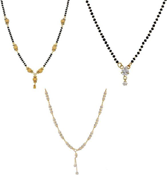 2eb55f8756 Zeneme ewellery Gold Plated Combo Of 3 Mangalsutra Pendant with Chain For Women  Alloy Mangalsutra