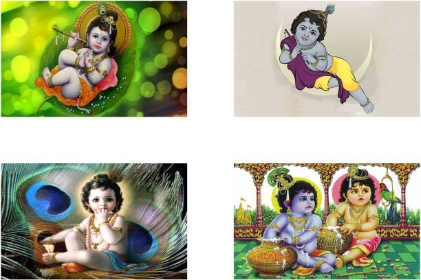 Lord Krishna Combo Poster set of Four Posters - bal krishna poster - god krishna poster - radhe krishna poster Paper Print