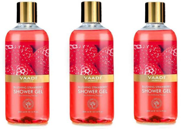 VAADI HERBALS Blushing Strawberry Shower Gel (300 ml x 3)