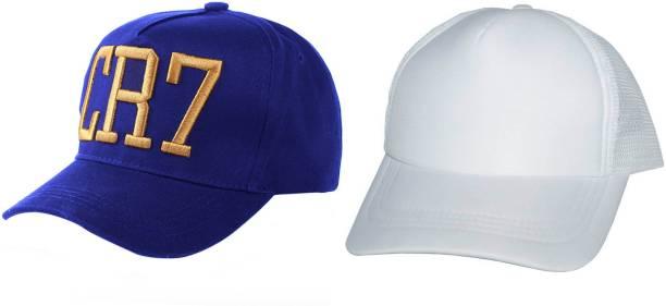 6a79360fa75 ALAMOS Combo Fashionable Look Blue Cotton   White Netted Mesh Baseball Cap