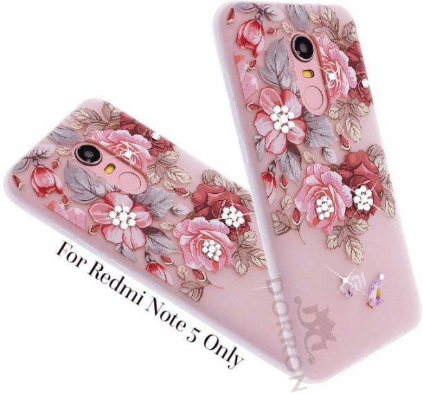 de3dee828b5 DORRON Back Cover for Redmi Note5 3d Floral Red Rose Print Bling  Rhinestones Stylish Design For