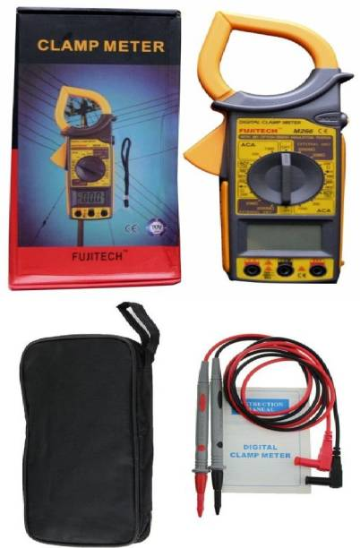 fujitech M266 New Arrival with Anti Drop Handle Digital Clamp Meter Handheld Multimeter AC/DC Voltage, AC Current, Resistance Tester, Diode Check & Continuity Tester, Full Overload Protection, Low Battery Indication & Over-range Indication Electrical Measuring Tool High Quality Digital Voltage Tester