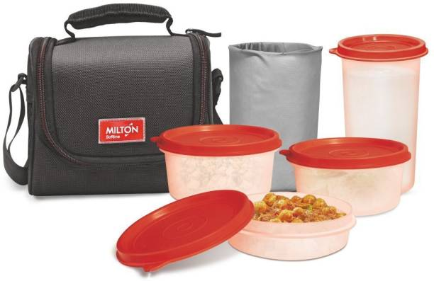Milton Full Meal 3 combo 4 Pc Lunch pack with Glass, Black 4 Containers Lunch Box