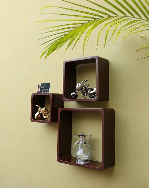 Onlineshoppee Fancy Cube Wooden Wall Shelf
