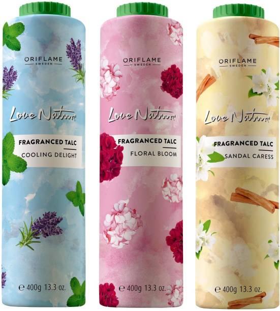 Oriflame Sweden Love Nature Fragranced Talc Combo (Floral Bloom, Sandal Caress, Cooling Delight)(New)