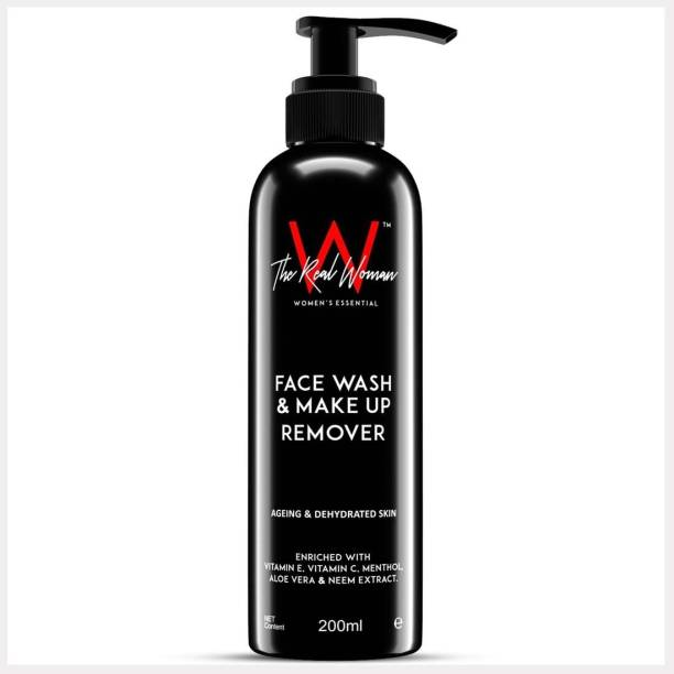 THE REAL WOMAN Face Wash & Make Up Remover. Enriched With Vitamin E, Vitamin C, Menthol, Aloe Vera & Neem Extract. Best For Ageing & Dehydrated Skin. Makeup Remover