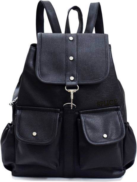 SPLICE PU Leather Backpack School Bag Student Backpack Women Travel bag 6 L  Backpack 9303317a95e47