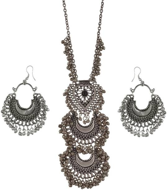 6372f16ca Urbanela Urbanela Oxidized German Silver Gypsy look Tribal Antique Boho  necklace with earring Afgani Jewellery Metal