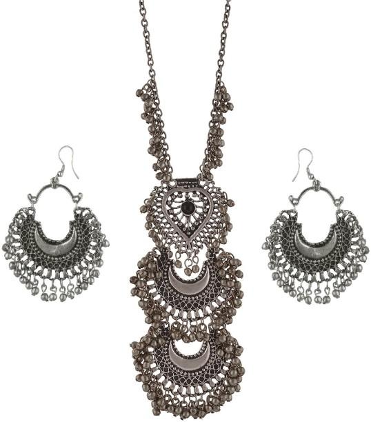 Urbanela Urbanela Oxidized German Silver Gypsy Look Tribal Antique Boho  Necklace With Earring Afgani Jewellery Metal
