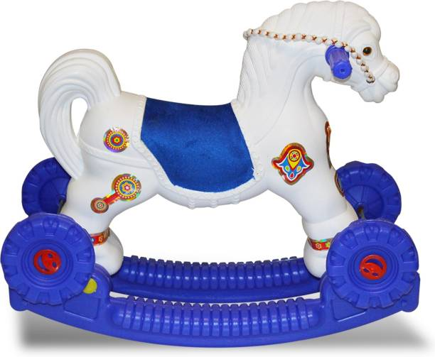 Akshat Rider Horse 2-In-1 Rocker Cum Ride-On Toy For Kids (White & blue) Rideons & Wagons Non Battery Operated Ride On