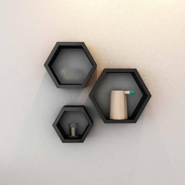 Credenza Hexagon MDF (Medium Density Fiber) Wall Shelf