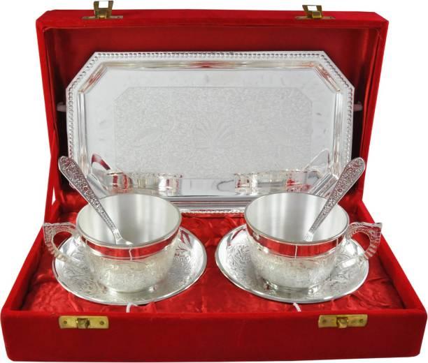 Raj Laxmi RajLaxmi Silver Plated Tea Cup Set Bowl Spoon Tray Serving Set