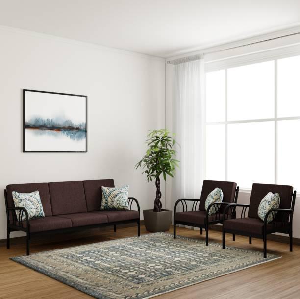 Furniturekraft Florence Fabric 3 1 Black Sofa Set