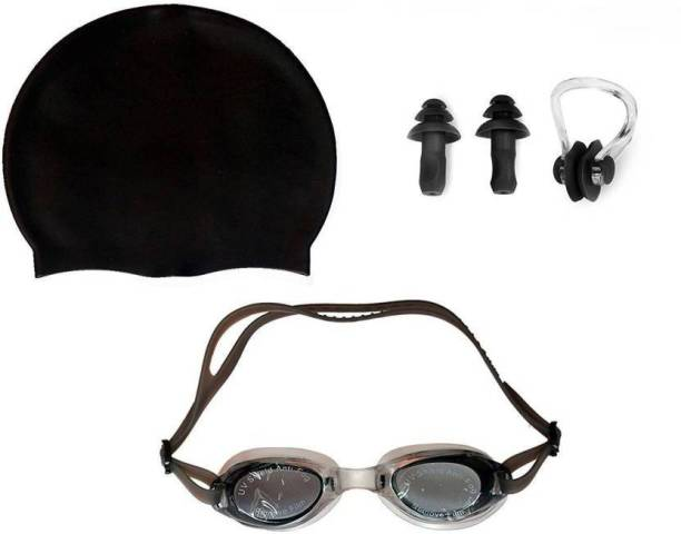 ROYAL GYM BEST QUALITY SWIMMING KIT PACK OF SWIMMING CAP+SWIMMING GOGGLE+EAR & NOSE PLUG Swimming Cap