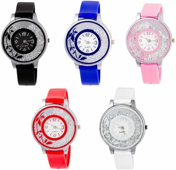 b1a81363b Niyati Nx New Stylish Pink Red White Blue And Black Flower Print Moveble  Diamond Combo Watch