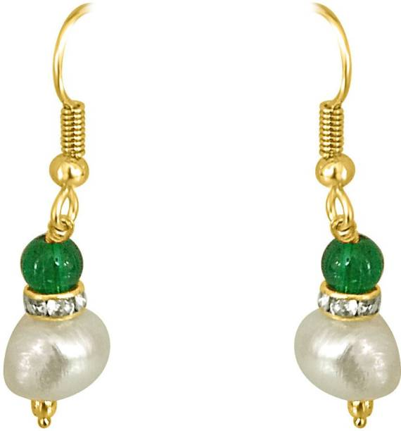 7f7da675a Surat Diamond Real Big Pearl and Green Stone Pearl Metal Dangle Earring