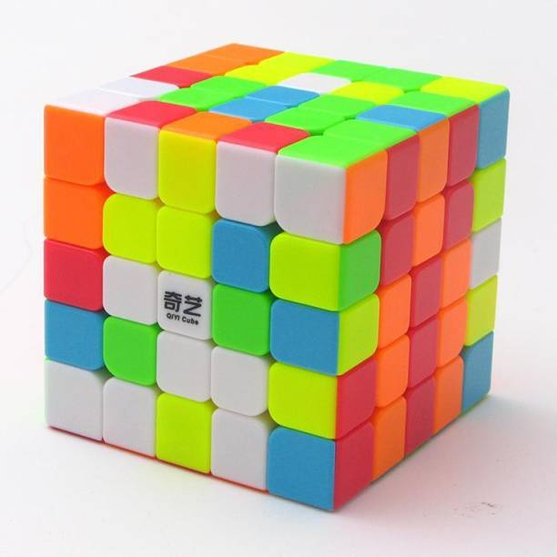 QIYI 5x5x5 Premium Quality High Speed Stickerless Cube, High Stability, Amazing Stress Reliever Cube Game, Easy Turning and Smooth Play Puzzle Toy, Multi-Color (1 Pieces)4x4x4 High Speed Stickerless Cube, High Stability, Amazing Stress Reliever Cube Game, Easy Turning and Smooth Play Puzzle Toy, Multi-Color (1 Pieces)
