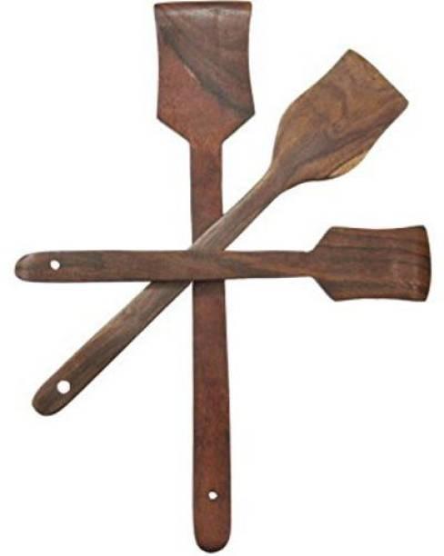 Green Wood WOODEN FLAT SPOON PALTA 3 PCS KITCHEN UTENSILS SET Wooden Serving Spoon Set
