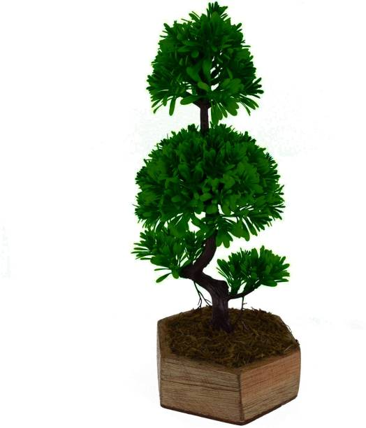 fancymart Artificial Bonsai Single Stem Tree ( 34 cm/ 13.5 inchs) with Hexagun Wood Pot-1626 Bonsai Wild Artificial Plant  with Pot