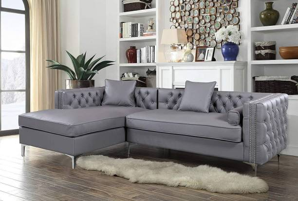 Style Crome Style Crome L Shape Left Facing Chaise PU Leather Button Tufted with Silver Nailhead Trim Silvertone Metal Leg with 3 Accent Pillows, Modern Contemporary, Grey Leather 4 Seater  Sofa