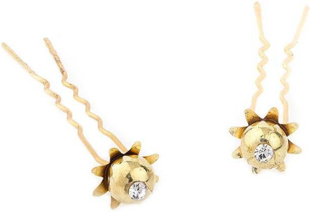 Voylla Gold Flower Hair Pin Bun Clip