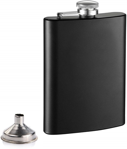 STAINLESS STEEL 8OZ HIP FLASK FUNNEL ALCOHOL VODKA WHISKEY HOLDER POCKET LARGE